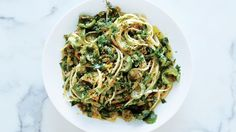 Linguine with Green Olive Sauce and Zesty Breadcrumbs | Bon Appetit Recipe
