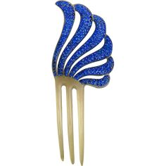 Blue rhinestone hair comb Art Deco style hair accessory from spanishcomb on Ruby Lane