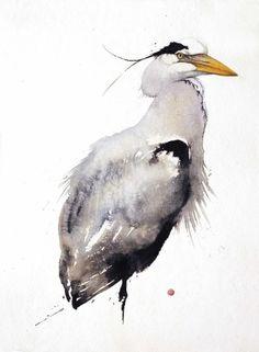 Grey heron by Karl Martens Watercolor Artists, Watercolor Animals, Watercolor And Ink, Watercolor Paintings, Watercolors, Grey Heron, Art Aquarelle, Organic Art, Bird Illustration