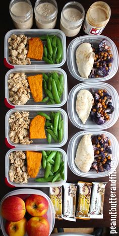 Meal prep Monday ideas - meal prepping to save time and money! This week's menu: Baked chicken with Spicy Garlic Roasted Cauliflower and Chickpeas; Ground turkey with baked sweet potato and steamed sugar snap peas; Peanut butter and jelly overnight oats.  Recipes and nutrition info are included!