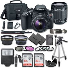 2. Canon EOS Rebel T6 DSLR Camera Bundle with Canon EF-S 18-55mm f/3.5-5.6 IS II Lens + 2pc SanDisk 32GB Memory Cards + Accessory Kit