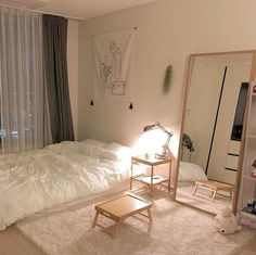 Room Ideas Bedroom, Small Room Bedroom, Home Bedroom, Bedroom Decor, Narrow Bedroom Ideas, Small Room Decor, Korean Bedroom Ideas, Bedroom Ideas For Small Rooms Cozy, Master Bedroom