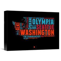 "Naxart 'Washington Word Cloud 1' Textual Art on Wrapped Canvas Size: 12"" H x 16"" W x 1.5"" D"