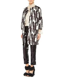Graphic Print – Blugirl Fall Winter 2016/2017 • Graphic Print Jacquard Fabric Coat • This oversized jacquard fabric coat with graphic print has a round neckline, raglan sleeves and topstitched pockets. Lined, with metal button-decorated fly.