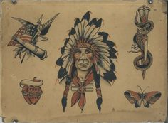 A treasure trove of antique tattoo flash is found in Corpus Christi - The Texican Vintage Tattoo Art, Antique Tattoo, Shipwreck Tattoo, Native American Tattoos, Sick Tattoo, Traditional Tattoo Flash, Vintage Flash, Tattoo Flash Art, Tattoo Project
