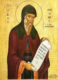 Monk Gerasimos (Peloponessus) withdrew on an island for monastic life, studied with Mount Athos ascetics, and went to Holy Land, becoming candle-lighter at the Lord's Tomb. He spent 40 days in Jordan, dwelt in solitude for 5 years, eating herbs, and founded a women's monastery in Omal. He was there 30 years, healing sick, casting out demons. He died August 15 1579, at 71, knowing beforehand. Opened after 2 years, relics were undecayed, exuded fragrance, and were curative (story link)