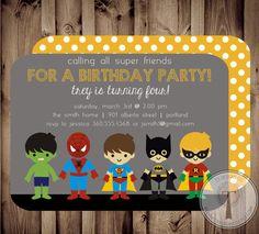 SUPERHERO Birthday Invitation (BIRTHDAY INVITATION), spiderman, batman, superman, hulk, super hero birthday invitation on Etsy, $12.99
