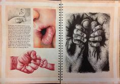 Pages from A2 Fine Art sketchbook on the topic of Baby. Studies in pencil, acrylics, red biro and black fineliner.
