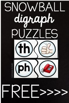 Free digraph puzzles for kindergarten or first grade. Such a fun literacy center or word work activity for winter!