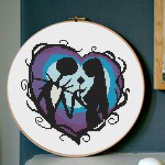 disney cross stitch pattern Sally and Jack Skellington disney PDF Cross Stitch Chart Embroidery Needlework Easy Cross Stitch pattern PDF