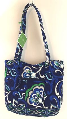 Vera Bradley Nwt Purse Handbag Tote Mediterranean Blue Retired Imperfection Verabradley Shoulderbag