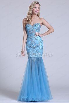 Ärmellos Süß Herz Perlen Blau Prom Kleid (C36150905)