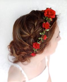 red flower hair circlet red flower headband bridal by thehoneycomb, $70.00