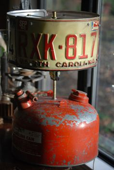 Rat Rod Gas Can Table Lamp with License Plate by CatkinsCreations