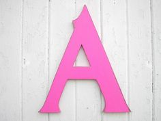 """Alphabet Wooden Wall Letters 18"""" """"A"""", Nursery Wall Hanging Letter Fuchsia Wall Decor Dorm Letter Kids Gift"""