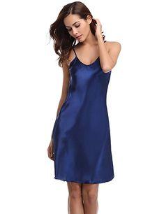b90717890d6ee Aibrou femme Déshabillés chemise de nuit sexy en satin petite tenue nuisette  Bretelles reglables Pure Douceur
