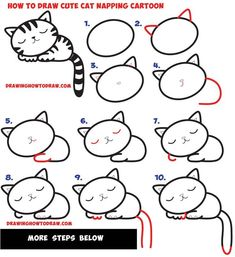 How to Draw a Supercute Kawaii / Cartoon Cat / Kitten Napping Easy Step by Step . - How to Draw a Supercute Kawaii / Cartoon Cat / Kitten Napping Easy Step by Step Drawing Tutorial for - Easy Drawing Tutorial, Cartoon Drawing Tutorial, Cat Cartoon Drawing, Drawing Animals, Drawing Cartoons, How To Draw Cartoons, Kitten Drawing, Easy Cartoon Drawings, Kitten Cartoon