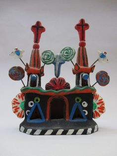 Mexican Folk Art Pottery Clay Mission Church Floral Metepec? Hecho En México