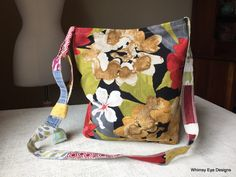 CROSS BODY BAG/Hobo Bag/Hip Bag/Repurposed/Bold Floral/Red/Black/Asian Print/Eco Friendly by WhimsyEyeDesigns on Etsy