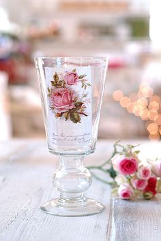 glass with shabby decal Shabby Chic Style, Shabby Chic Decor, Chandeliers, Rose Cottage, Garden Cottage, Beautiful Roses, Beautiful Perfume, Pretty Roses, Rose Buds