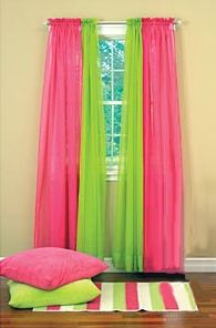 girls room -green and pink curtains Lime Green Rooms, Lime Green Curtains, Green Girls Rooms, Pink Sheer Curtains, Little Girl Rooms, Girls Bedroom Curtains, Bedroom Decor, Bedroom Ideas, Bedrooms