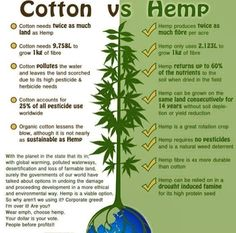Cotton vs. Hemp // posted on Fb by Brian Cabral