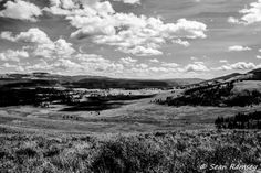 Yellowstone Print, Nature Photography, 8 x 10 Print, Black and White, Rocky Mountains, Shadow Valley, Western Skies, Mountain Scenery, West
