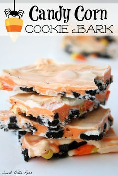 Candy Corn Cookie Bark- a festive, no bake treat #halloween #recipe