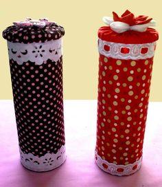 carterie, pergamano et tableaux Tin Can Crafts, Diy Home Crafts, Diy Arts And Crafts, Crafts For Kids, Decoupage Jars, Pringles Can, Jar Art, Aluminum Cans, Bazaar Ideas