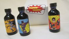 Fathers Day Batman Robin Batgirl Hot Sauces  by InNonnasKitchen