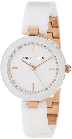 Anne Klein Women's AK/1314RGWT Swarovski Crystal Accented Rose Gold-Tone White Ceramic Bangle Watch : Disclosure: Affiliate link