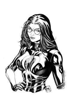 Joe Image, Baroness Gi Joe, Comic Art, Comic Books, Arte Dc Comics, Black And White Sketches, Sci Fi Horror, Classic Cartoons, Geek Art
