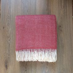 Fishbone Throw in Cranberry Wool Wash, Backdrops, Neutral, Weaving, Pure Products, Pattern, Room, Vintage, Bedroom