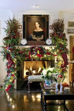 ~ Living a Beautiful Life ~ 15 Gorgeous Christmas Mantels - Christmas Decorating Christmas Fireplace, Christmas Mantels, Noel Christmas, Winter Christmas, Fireplace Mantel, Tartan Christmas, Fireplaces, Christmas Time Is Here, Xmas Decorations