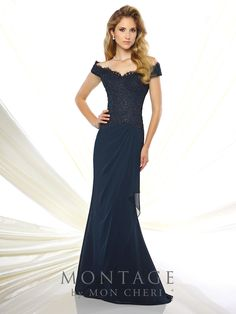 Off-the-shoulder chiffon and lace fit and flare gown, hand-beaded lace bodice with dropped waist, side draped chiffon skirt, sweep train. Matching shawl included. Sizes: 4 – 20, 16W – 26W Colors: Navy Blue, Teal, Red, Rose
