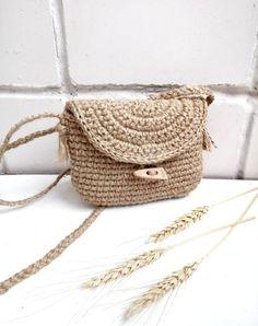 Jute Bags, Mini Crossbody Bag, Betta, Straw Bag, Crochet Patterns, Handmade, Vintage, Clutch Bag, Hand Made