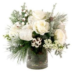$89.95  Faux Roses with Evergreens & Berries