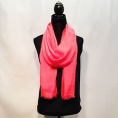 "The NFS ""Lovely Coral"" scarf is literally the SOFTEST scarf available online! Think of the softest thing you've ever touched and times it by a million--- that's this scarf's softness right here. #nancysfancyscarves #lightandflowy #style #pink #scarf #scarves"