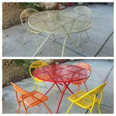 spray painted brightly colored wicker and wrought iron patio furniture makeover gardening pinterest iron patio furniture furniture and sprays - Modern Iron Patio Furniture