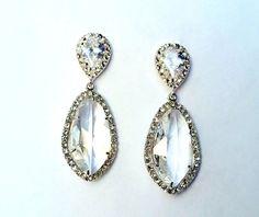 Silver Pave Teardrop Marquis Earring | MIA ELLIOTT $210.00 #BRIDE #WEDDING #JEWELRY