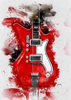 Jack White's Guitar Pop Art Poster Print Music Painting, Guitar Painting, Guitar Art, Music Wall Art, Music Artwork, Poster S, Poster Prints, Art Print, Jack White Guitar