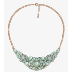 FOREVER 21 Rhinestone Floral Bib Necklace ($11) ❤ liked on Polyvore