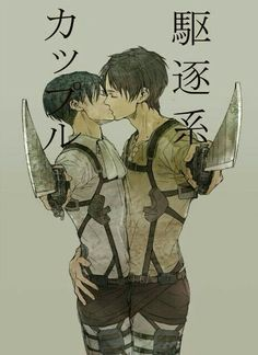 Eren, Levi, yaoi, EreRi, RiRen, text, kissing, swords; Attack on Titan