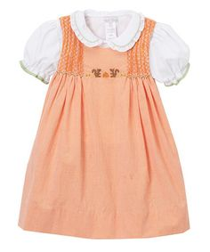 Another great find on #zulily! Orange Check Squirrel Embroidered Sleeveless Dress Set - Infant & Kids #zulilyfinds