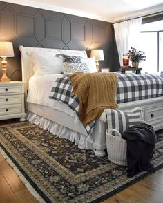 This gorgeous master bedroom from our friend has everything that we love about the color gray and farmhouse decor! The drama and depth of the color can change with its hue! Fell in love with this design? Get more bedroom inspiration with Decor Steals! Cozy Bedroom, Bedroom Makeover, Bedroom Refresh, Bedroom Design, Cheap Home Decor, Home Decor, Stylish Bedroom, Farmhouse Bedroom Decor, Fall Bedroom