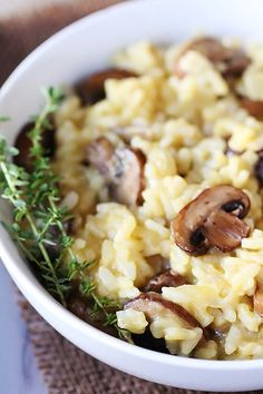 Mushroom Risotto... SO YUMMY and EASY.  I made it tonight and instead of using the rice they recommended I used 5 minute rice and added a clove of garlic.  SOOOO GOOD!