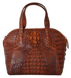 Authentic M Crocodile Skin Womens Hornback Round Bag Hobo Cognac Handbag