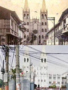 Dito, Noon: San Sebastian Church, Manila, 1890s x 2019. #kasaysayan -- The construction of the original San Sebastian Church began in 1621, burned in 1651, and destroyed by fire and earthquakes in 1859, 1863, and 1880. Spanish architect Genaro Palacios designed the steel structure -- with the first material shipment arriving in 1888. The church was consecrated in 1891. Steel Structure, Present Day, Manila, Philippines, Spanish, Construction, Fire, San, The Originals