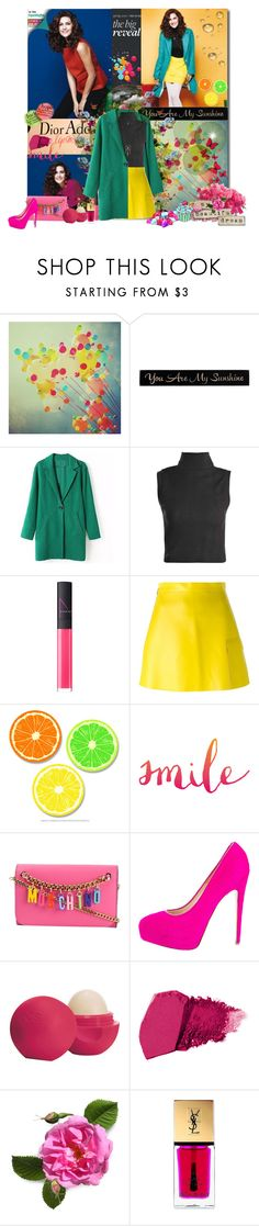 berguzar korel by bouchra-re on Polyvore featuring mode, MSGM, Brian Atwood, Moschino, Aéropostale, NARS Cosmetics, Eos, Yves Saint Laurent and DutchCrafters