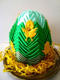 Easter Egg Ornament in greencute yellow chicks keepsake by Wcards, $18.00